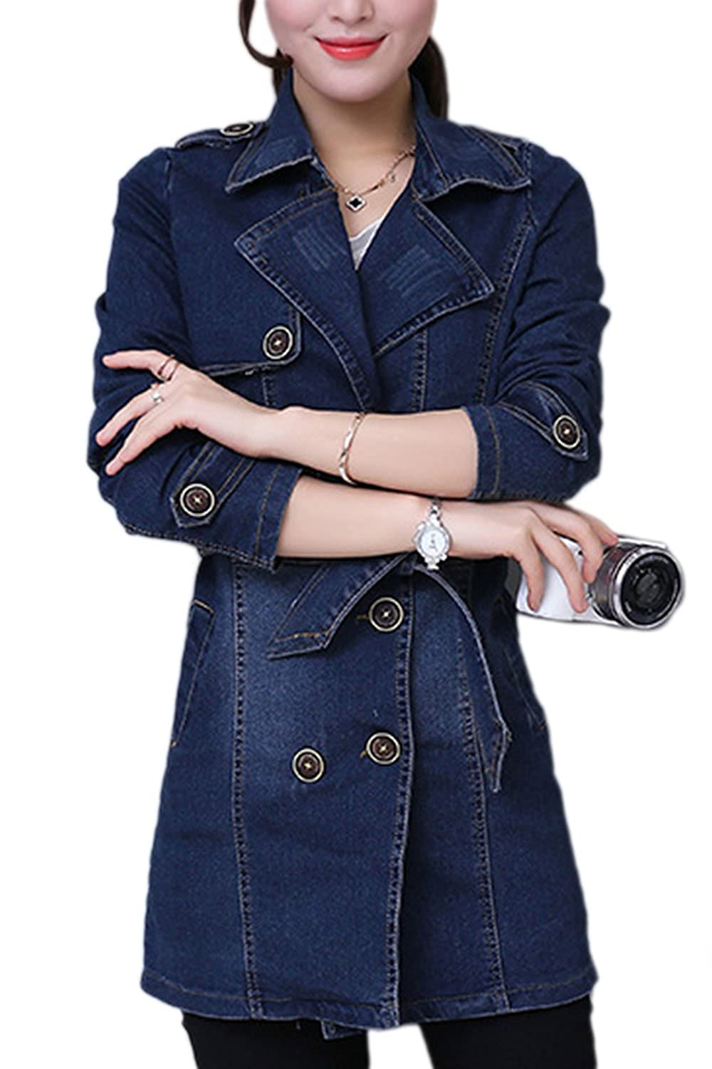 Women Elegant Double Breast Long Sleeve Midi Slim Denim Trenchcoat Jacket Outwear CAFZ1072