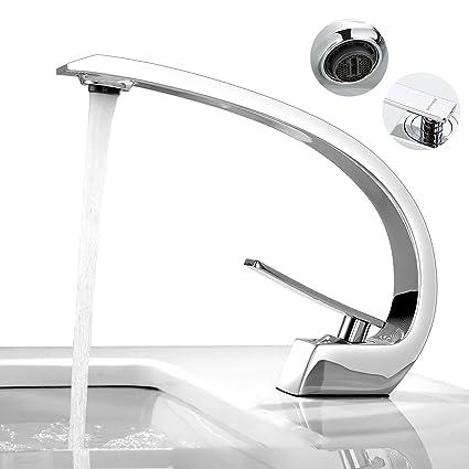 BONADE Waschbecken Wasserhahn Bad Armatur Chrom Mischbatterie Waschtischarmatur Badarmatur Einhandmischer Waschtischmischer A