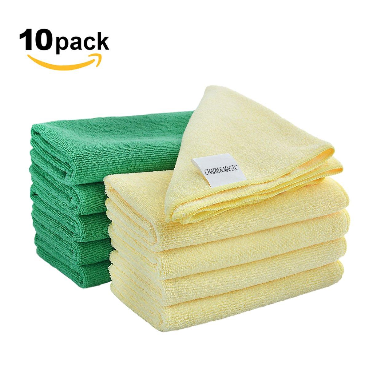Paño de limpieza grande de microfibra Charm & Magic para todas las superficies, paquete de 10 unidades, color Green + Yellow: Amazon.es: Oficina y papelería