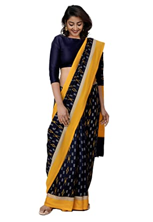 22708c30c4ae3e Unnati Silks Women Ikat Printed Pochampally Soft Silk Saree with blouse  piece from the Weavers of