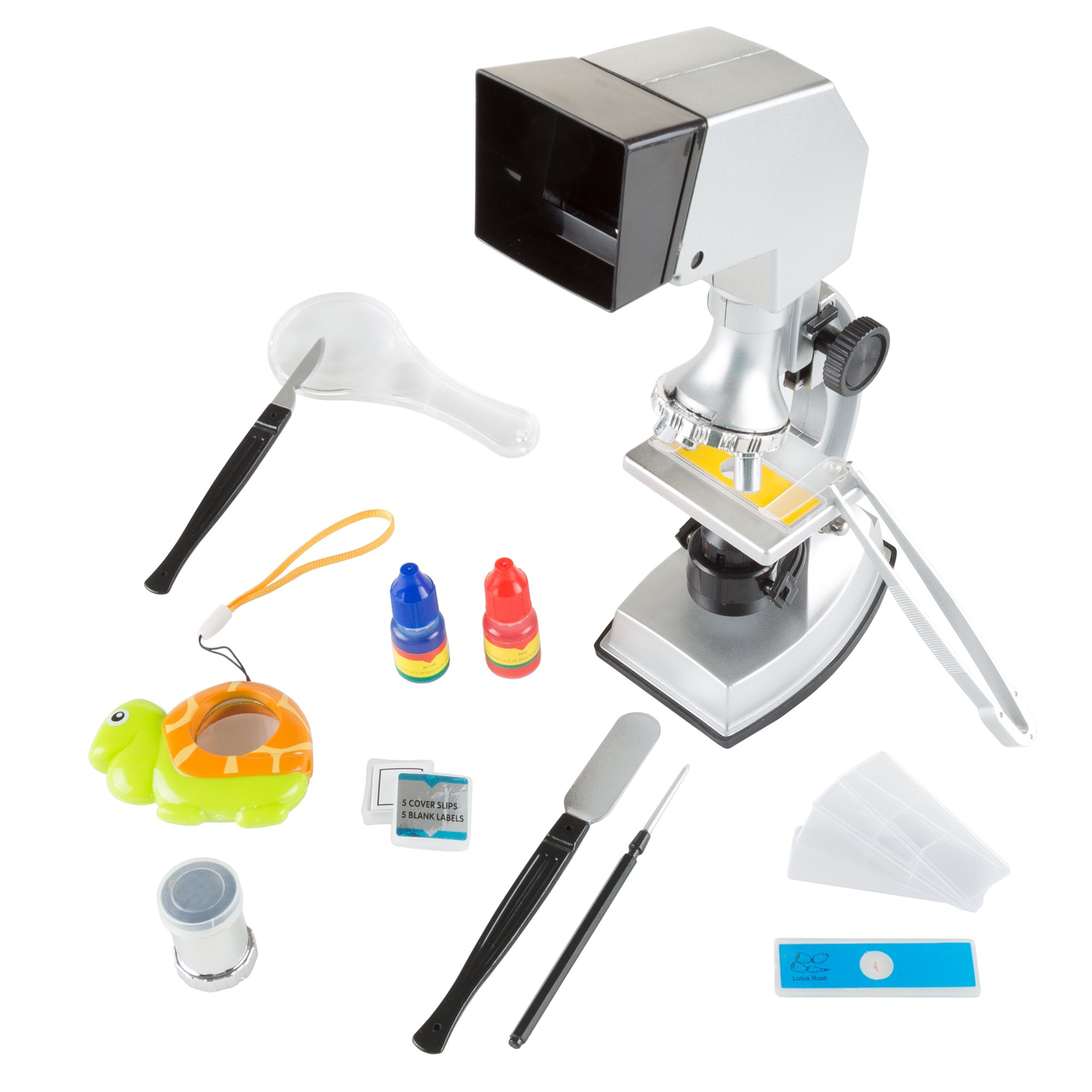Microscope for Kids, 18 Piece Educational Science Set, 4-Way Magnification form 100x to 900x with Projection Viewing for Boys and Girls by Hey! Play!
