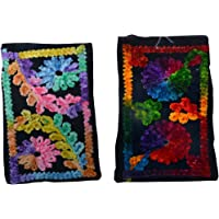 Craft Trade Women's Cotton Embroided Mobile-Phone Pouch Cover - Set of 2