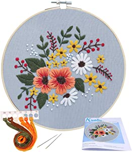 Full Range of Embroidery Starter Kit with Pattern, Kissbuty Stamped Embroidery Kit Including Embroidery Cloth with Floral Pattern, Bamboo Embroidery Hoop, Color Threads Needles Kit (Grey Flower)