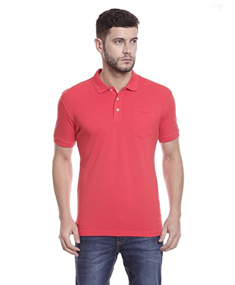 bf273b72 Tempt Men's Premium Poly-Cotton Plain Red Polo Neck T-Shirt with Pocket:  Amazon.in: Clothing & Accessories