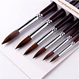 6pcs Round Point Tip Paint Brush Set Kolinsky Sable Hair Artist Quality Art Painting Brush