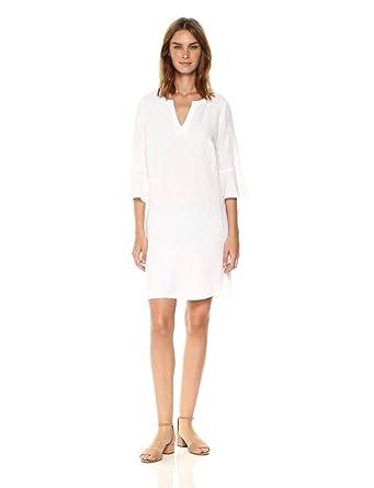 395366a063 Amazon.com  Three Dots Women s Woven Linen Flounce Sleeve Dress ...