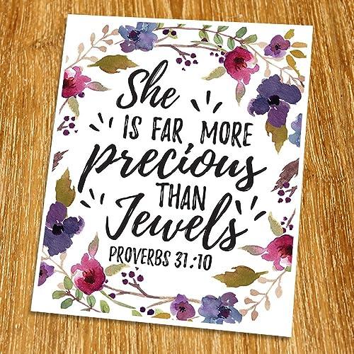 Proverbs 31:10 She is far more precious than jewels Print (Unframed),  Watercolor Flower, Scripture Art, Bible Verse Print, Christian Wall Art,  Nursery