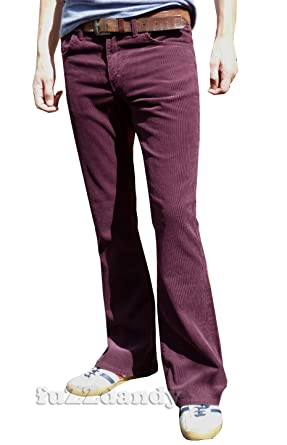 Mens Boot Cut Bootcut Corduroy Flares Pants Retro Burgundy Red at ...