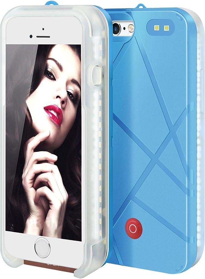 Selfie luz luminoso iPhone caso, banco cargador de batería de alimentación con iluminación LED, Flash luz teléfono celular Funda para Apple Iphone ...