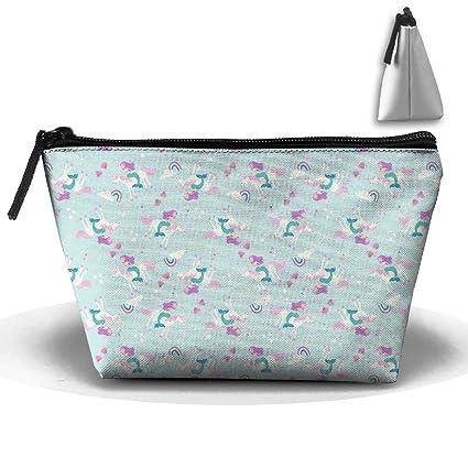 Bolsa de cosméticos, portátil, diseño de unicornio de la Sirenita funda – Bolsa de