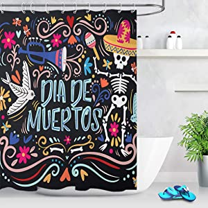 LB Dia De Muertos Shower Curtain Day of The Dead Mexican Skull Bathroom Curtain with Hooks 60x72 inch Waterproof Polyester Fabric