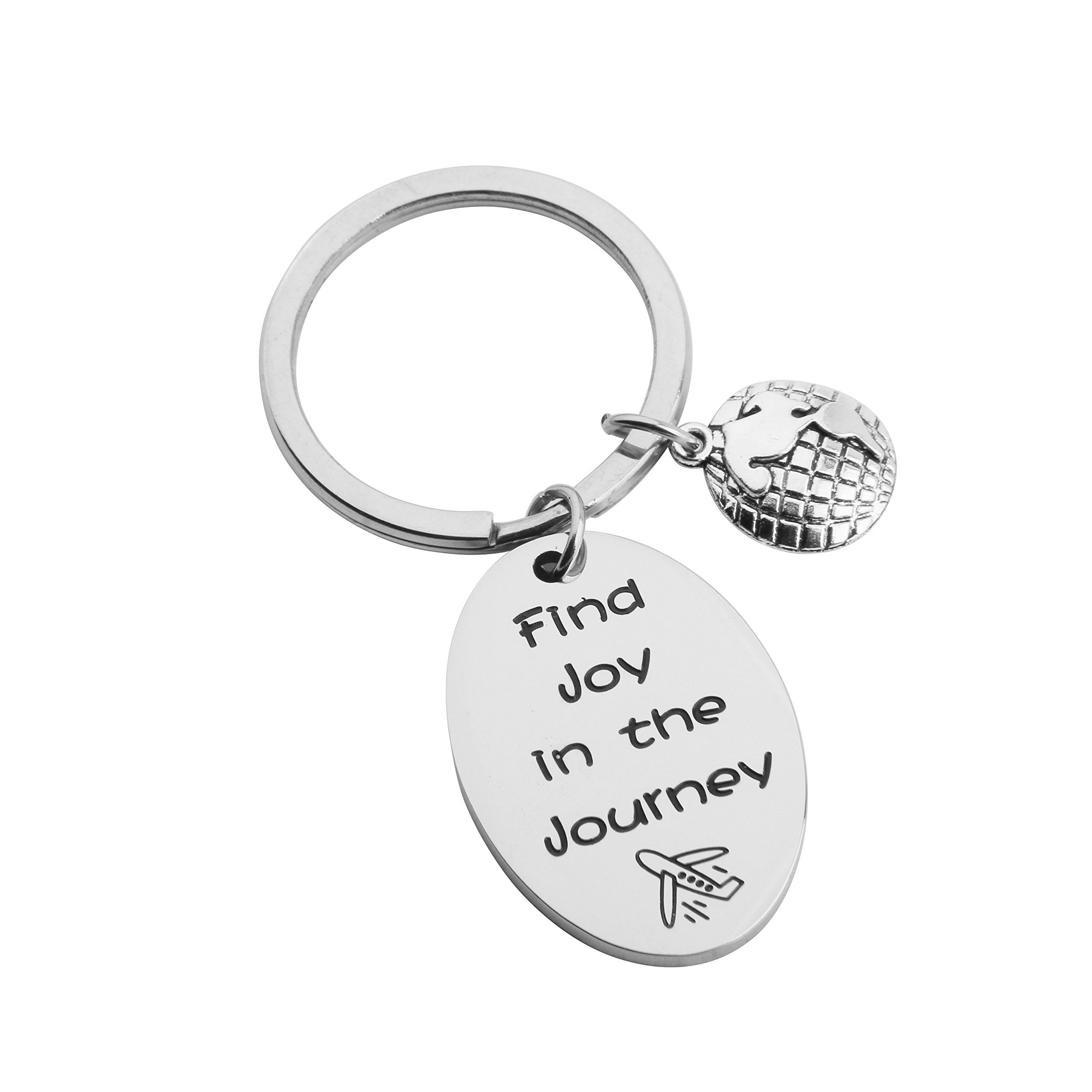 SEIRAA Graduation Gift Find Joy In The Journey Travel Bracelet Retirement Gift Traveling Jewelry For Women (keychain)