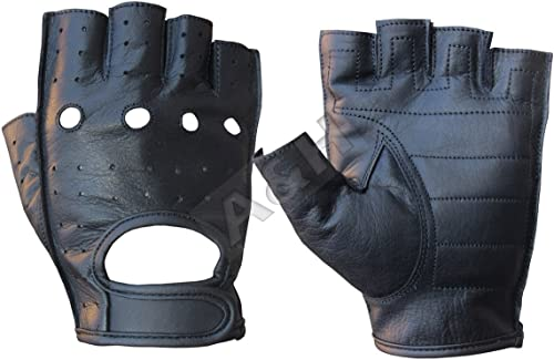 A&H Apparel Leather Motorcycle Glove Genuine Cowhide Fingerless Leather Driving Gloves