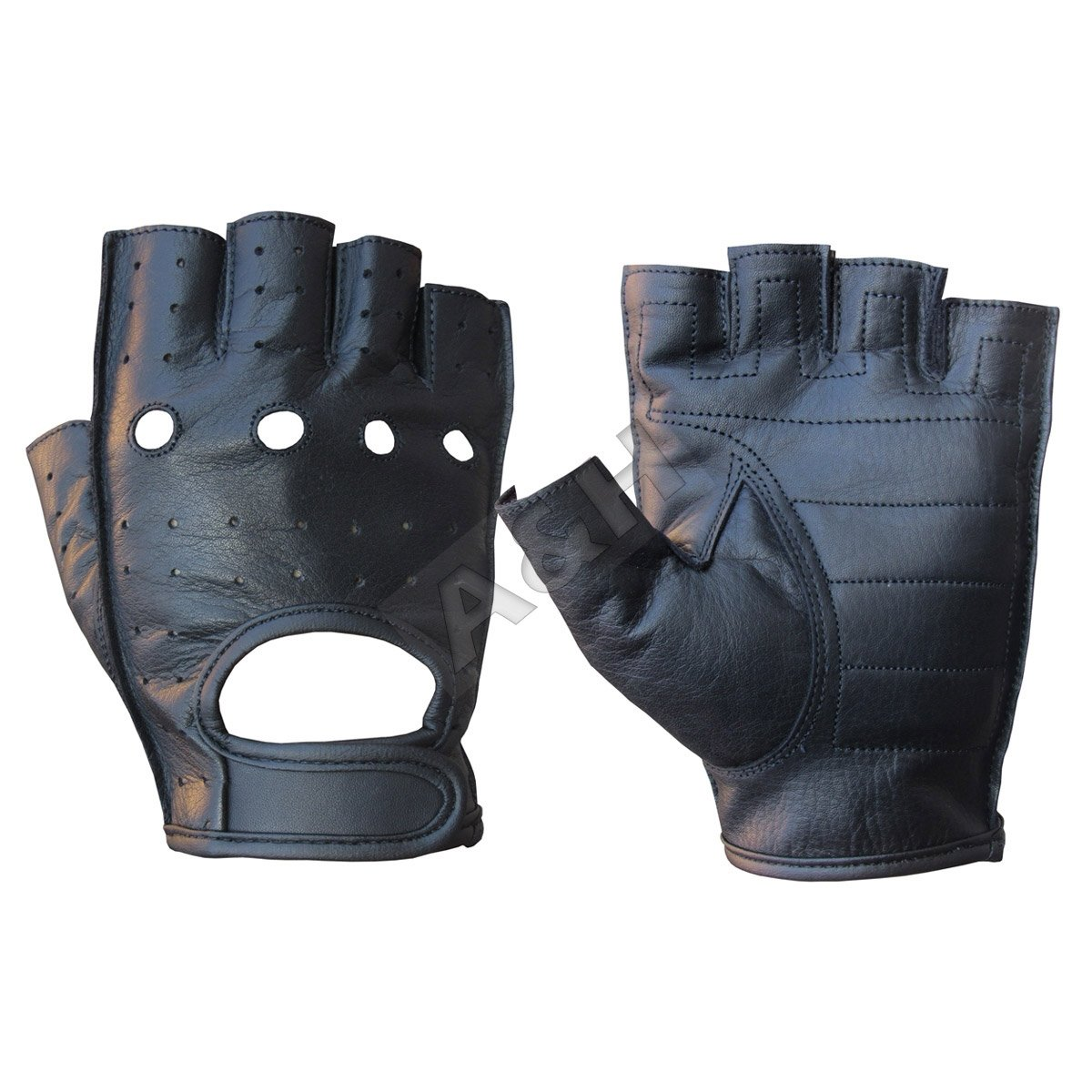 A&H Apparel Leather Motorcycle Glove Genuine Cowhide Fingerless Leather Driving Gloves (Large)