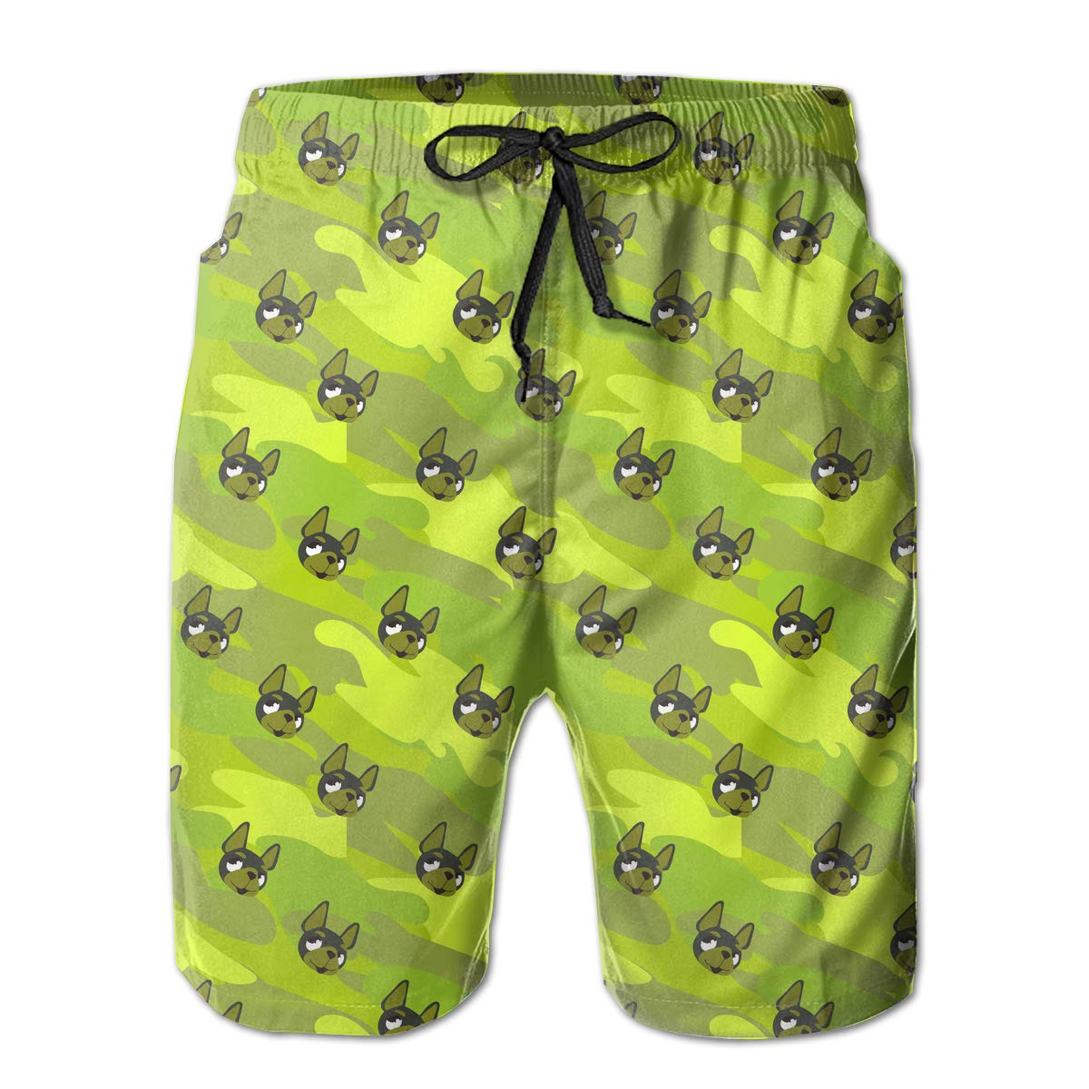 Dog Face On Camouflage Pattern Mens Beach Shorts Summer Casual Bathing Suit