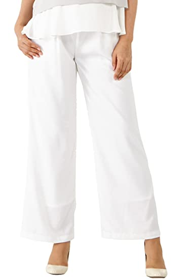 effaa4dfec648 Sweet Mommy Georgette Wide Long Maternity Pants White, L at Amazon ...