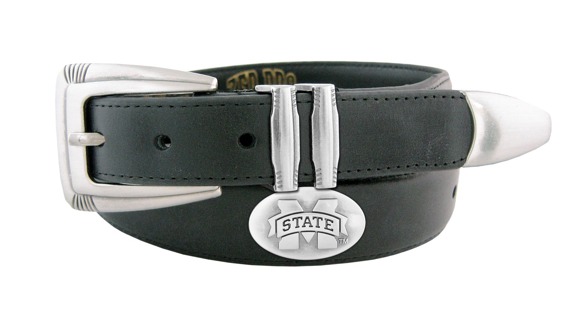 NCAA Mississippi State Bulldogs Men's Leather Concho Tapered Tip Belt, Black, 32