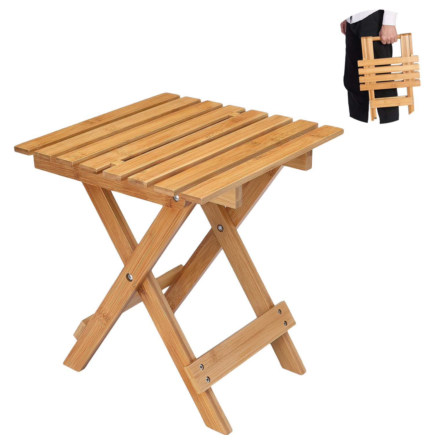 Utoplike Foldable Stool Bamboo Stool Bamboo Folding Stool For Indoor And Outdoor Garden Picnic Sitting Resting