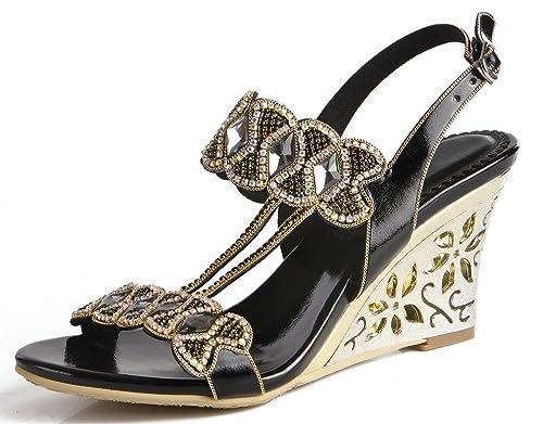 be9ccedcb jiandick Womens Bow Tie Rhinestone High Heels Ankle Strap Dress Wedges  Sandals  Amazon.ca  Shoes   Handbags
