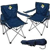 2x Marko Outdoor Oxford Blue Folding Camping Chair Camping Hiking Fishing Garden Sun Furniture