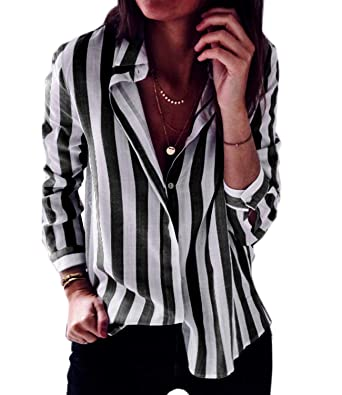 6ff4b4da1eb Mansy Women s Casual Long Sleeve Blouse Striped Button Down T Shirt Tops at  Amazon Women s Clothing store