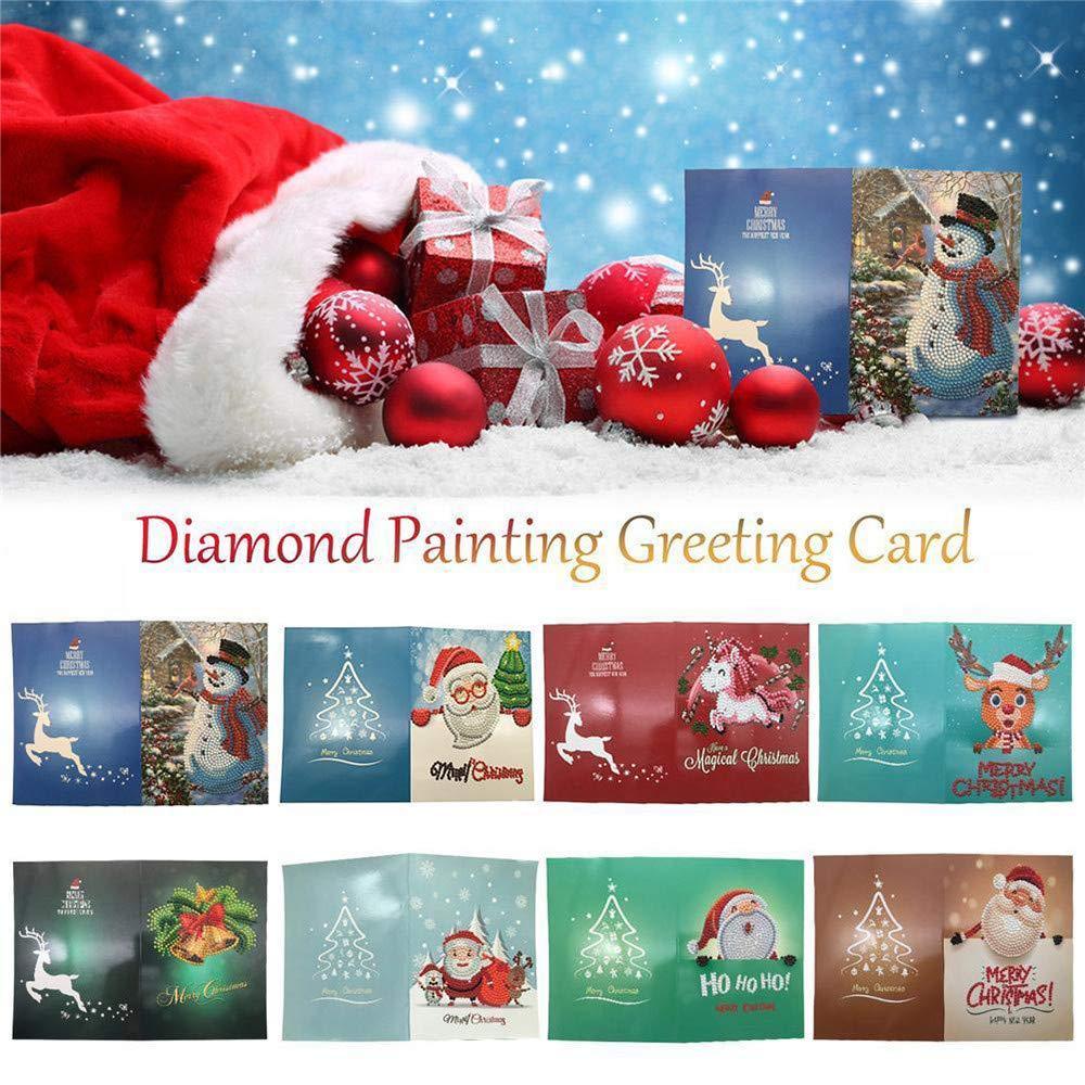 Y56tm 8 Pack Christmas Greeting Cards Cartoon Diy 5d Diamond