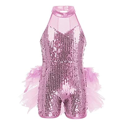 Aislor Kids Girls Shiny Sequins Mock Neck Jazz Latin Ballet Dance Leotard Jumpsuit Dancewear Costumes: Clothing
