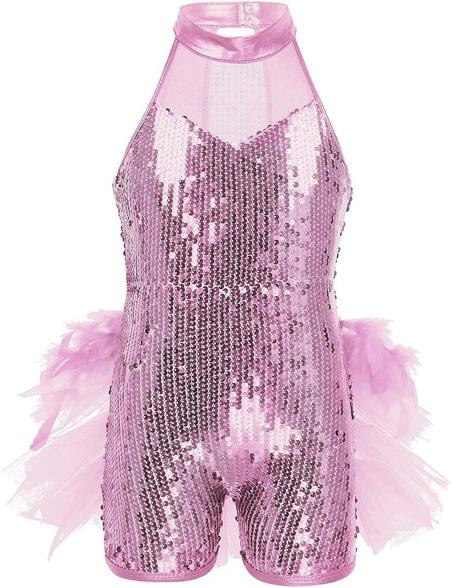iiniim Girls Child Sequin Halter Bra Top Kids Jazz Ballet Dance Stage Performance Fancy Tops