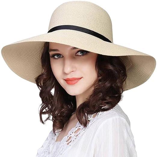69bb7c7417a308 JOYEBUY Women Wide Brim Sun Hat Foldable Summer Beach Hat Straw Cap UPF 50+  (Style A-Beige) at Amazon Women's Clothing store: