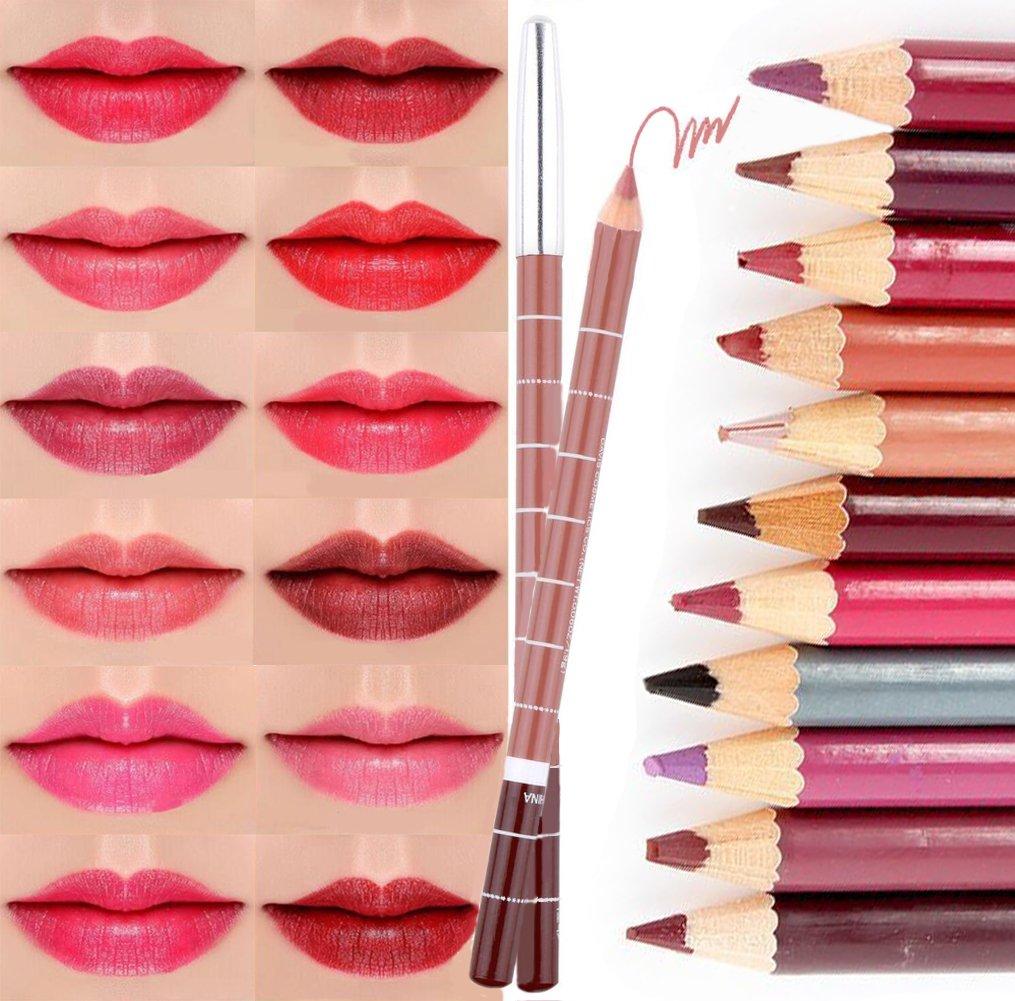 CINEEN 28 Various Colours Lip Liner Set Waterproof Lipstick Lip Liner Pencil Long Lasting Lipliner Pencil Set