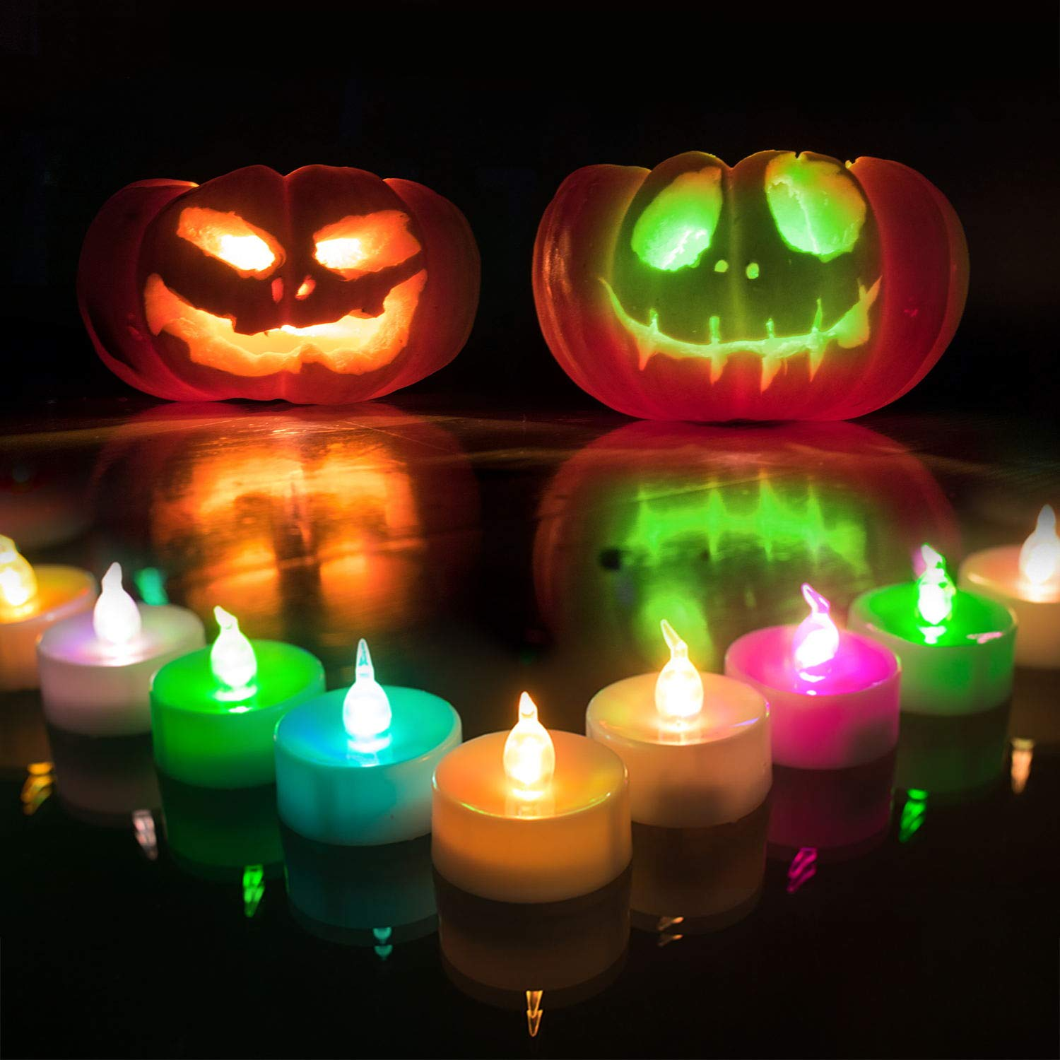 Homemory 24 Pack LED Tea Lights Candles, 7 Color Changing Flameless Tealight Candle, Long Lasting Battery Operated Fake Candles for Halloween, Party, and Christmas by Homemory