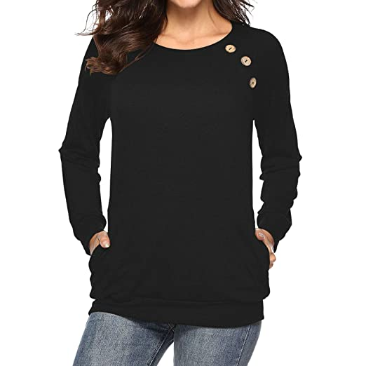 99fd5221686 ANAKIKI Women s Autumn Long Sleeve Tunic T Shirt with Pockets Casual Button  Cotton Top Blouse Tee