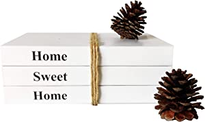 GoFika White Stacked Books Set of 3 /Home Sweet Home/Rustic Farmhouse Accent Home Decor for Coffee Table, Living Room, Shelf, Mantel, Bedroom Night Stand