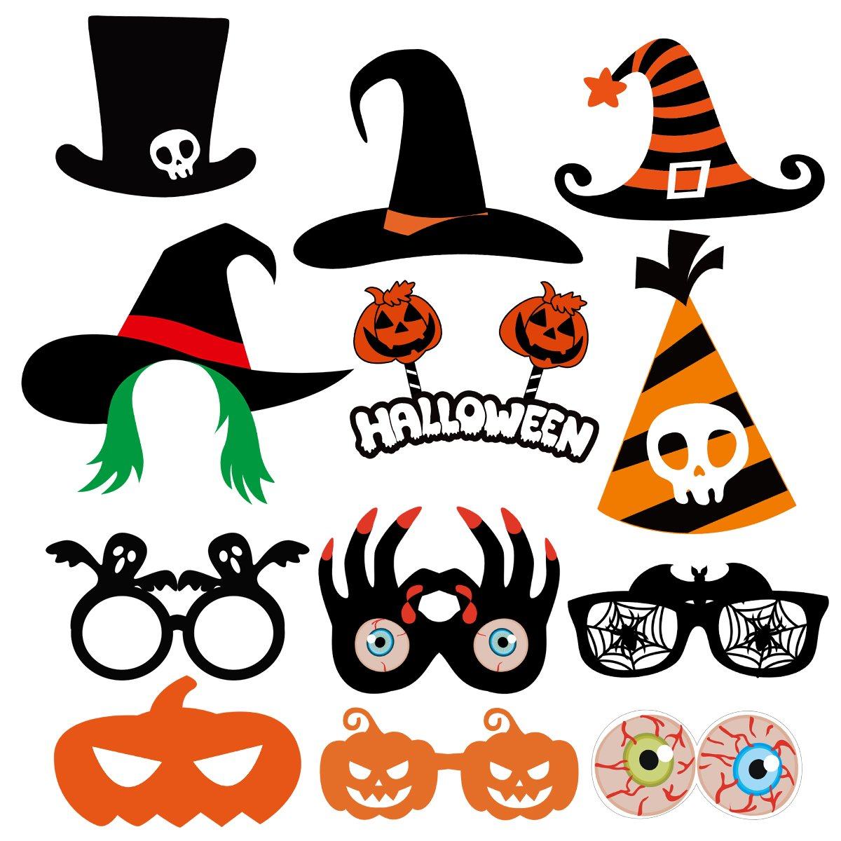 PRETYZOOM 47 Pieces Halloween Party Photo Booth Props Kit Fancy Party Decor Halloween SupplyPose Sign Kit for Party Decoration by PRETYZOOM (Image #4)