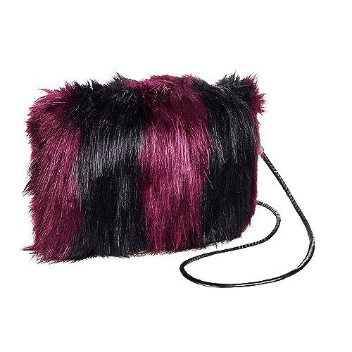 Blue Banana Faux Fur Small Clutch Bag (Purple Black)  Handbags ... 0b3658020ba38