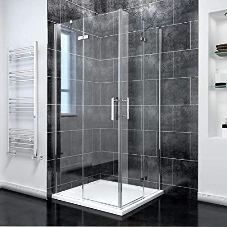 Puerta corredera de esquina, con puertas transparentes dobles para ducha, 900x900mm Shower Enclosure + Tray: Amazon.es: Hogar
