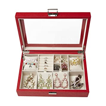 Amazon.com: Vlando - Caja de joyería clásica grande con tapa ...