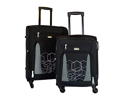 Timus Morocco Spinner 55   65cm 4 Wheel Trolley Suitcase Travel Luggage Expandable Cabin and Check in Luggage  Black  Suitcases   Trolley Bags