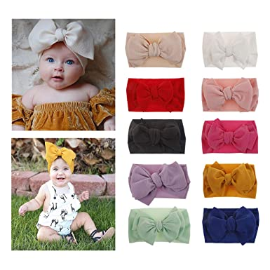 Elastic Turban Baby Big Bow Headband Head Wraps  Knotted Nylon Hairband