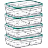 PlastArt Fresh Box Rectangle Set, Multi Piece Food Storage Container with 2 Divided Removable Compartment, Portion Control Set, 4.2-cup, 4 Pack, Clear