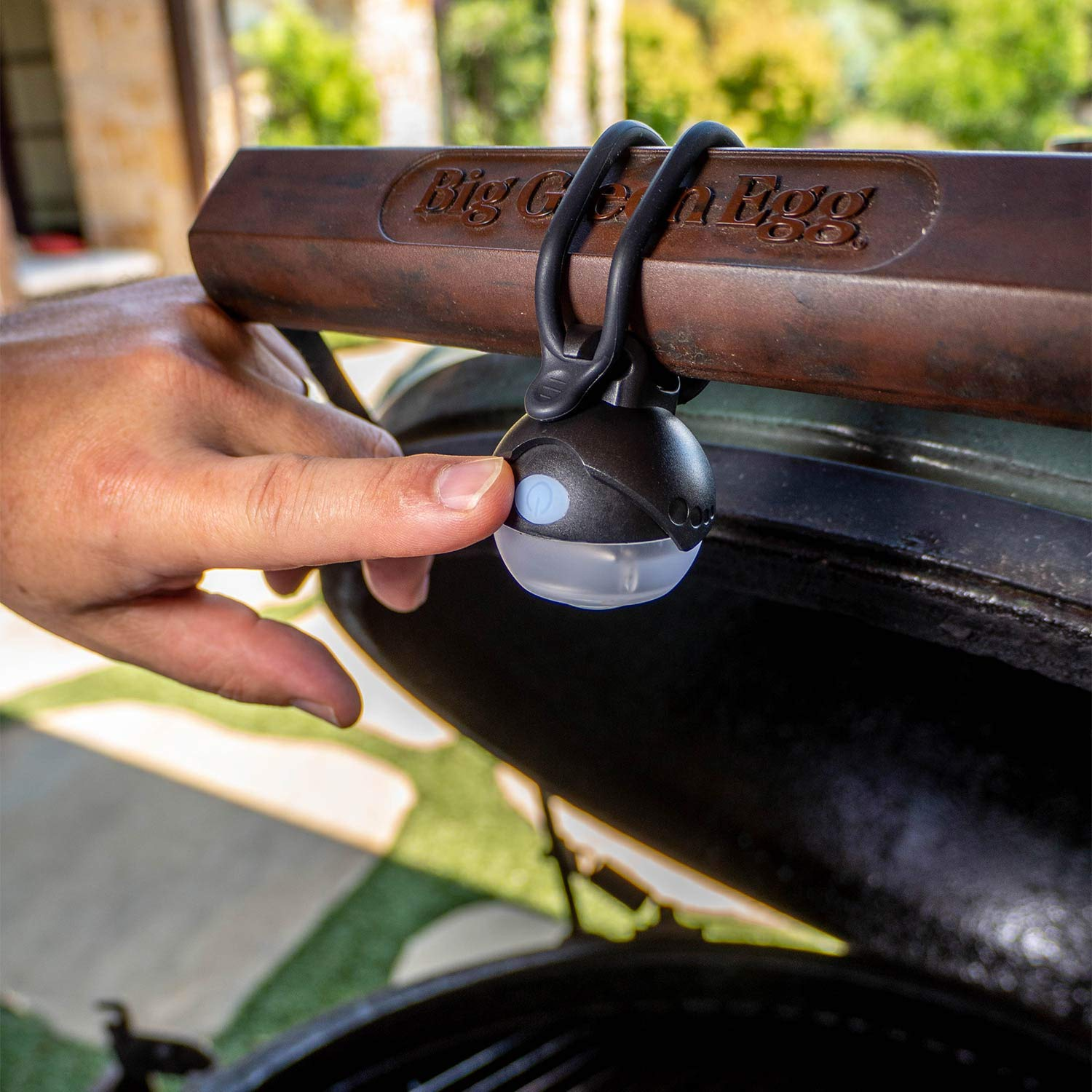 EggXotic Light for Big Green Egg - A Rechargeable, Rotatable, Bright LED Light That Wraps Around The BGE Handle and Illuminates Your Grill Top (Black)