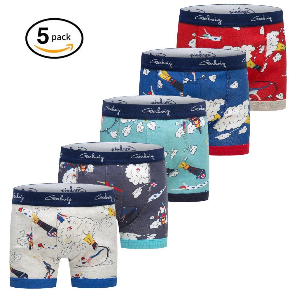 Gorboig Boys 5-Pack Boxer Briefs Cars Truck Kids Underwear(5/6Y,Rocket)