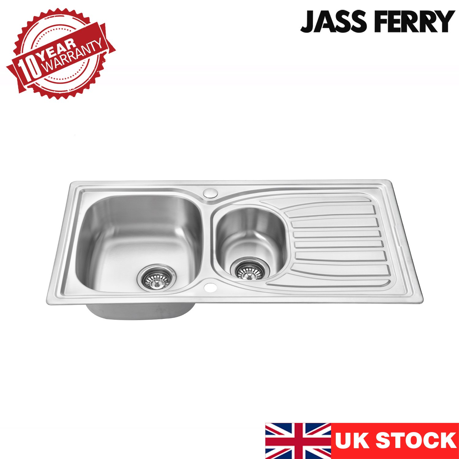 Jass Ferry 980 X 510 Mm Stainless Steel Kitchen Sink Inset 1 5 One Half Bowl Reversible Drainer With Waste Pipes Clips 10 Year Guarantee Buy Online In El Salvador At Elsalvador Desertcart Com Productid 81892573