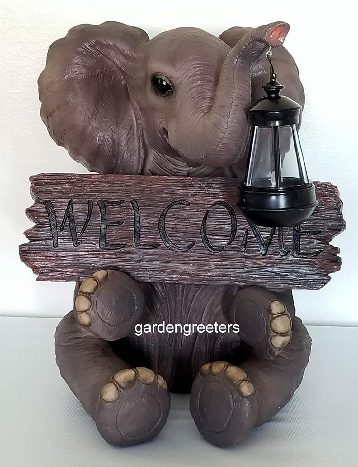 Gardengreetersllc SOLAR ELEPHANT WITH WELCOME SIGN STATUE