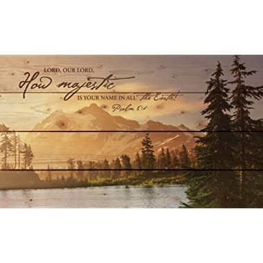 P. Graham Dunn Lord, How Majestic is Your Name Mountain Lake Scene 14 x 24 Wood Pallet Wall Art Sign Plaque