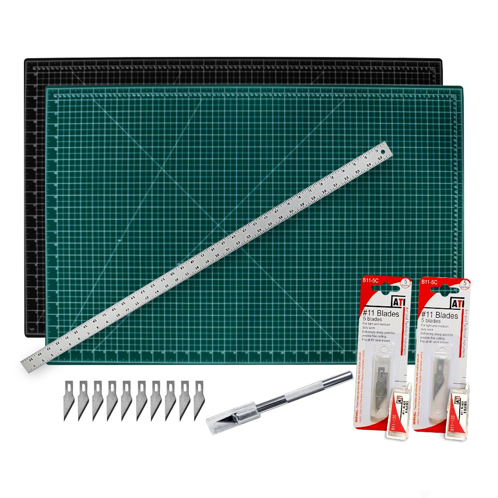 """Cutting Mat with Craft Knife & Ruler Set - Professional 12X9 Self Healing Double Sided Rotary Mat Precision Hobby Knife with 10 Easy Replacement Blades and 12"""" Steel Corked Backed Ruler"""