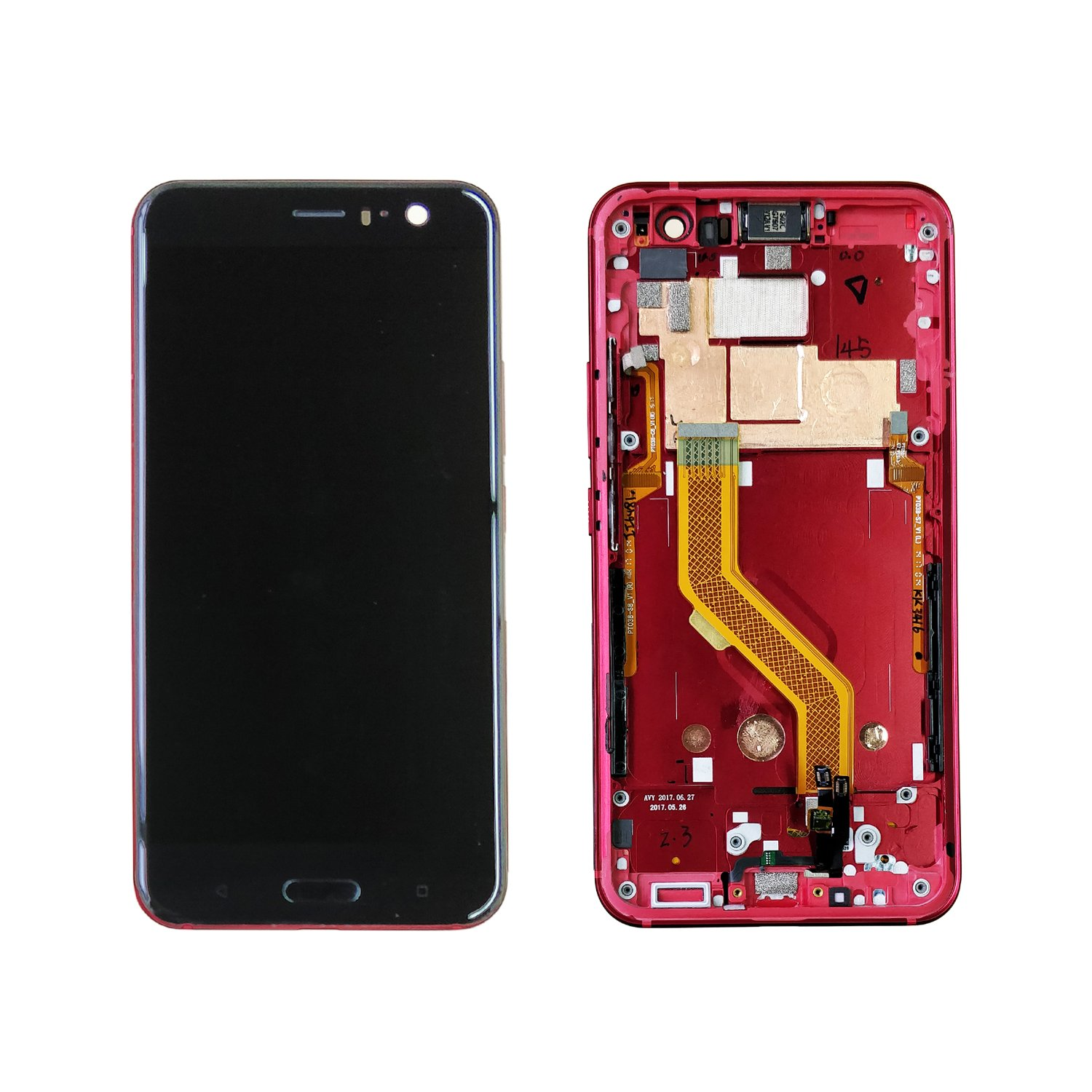 Swark 5.5'' LCD Display Touch Screen Digitizer with Frame Replacement For HTC U11 (Solar Red) by swark