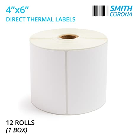 Smith Corona - 4'' x 6'' Direct Thermal Labels, 475 Labels Per Roll, 12  Rolls, Made in The USA, 5700 Labels Total, for 1