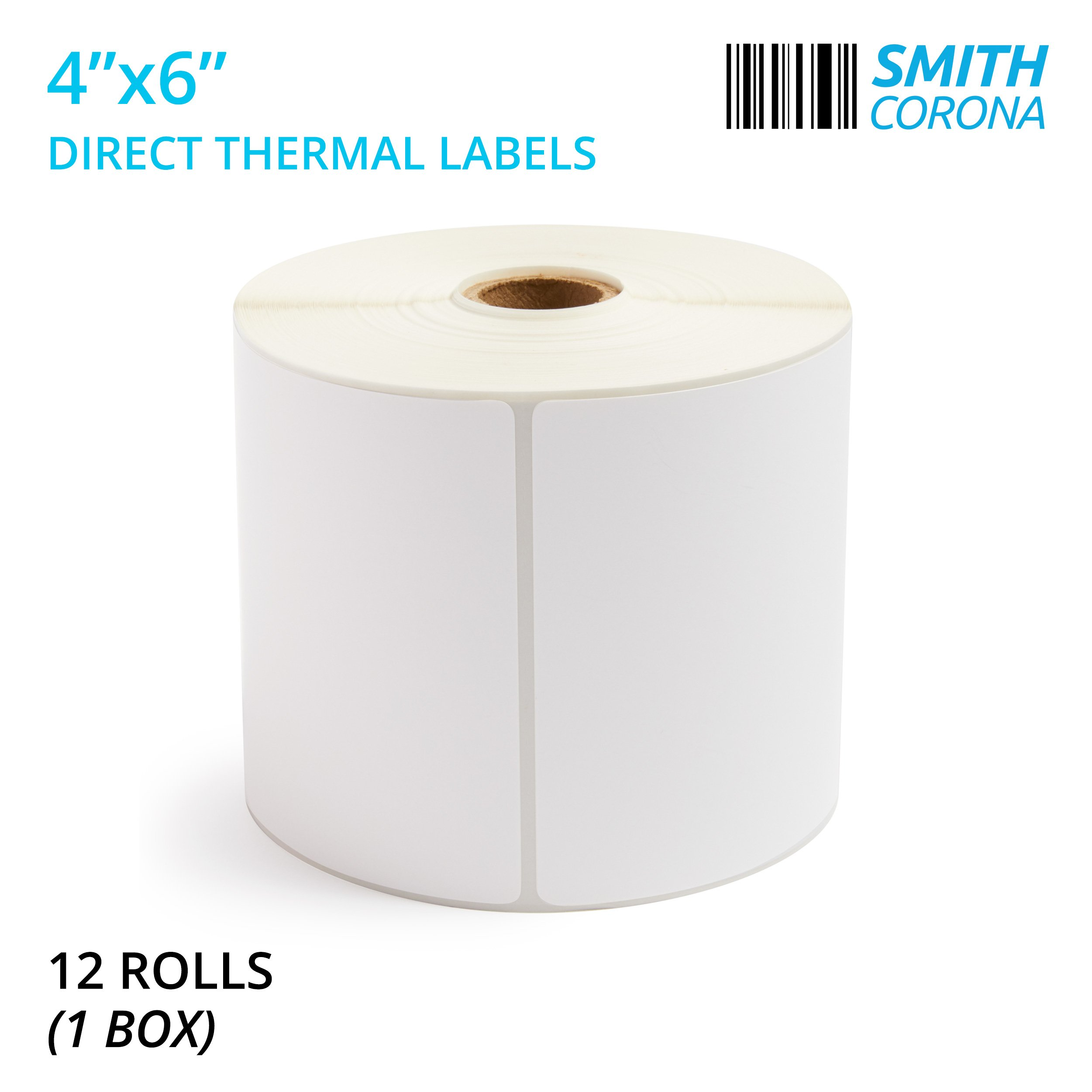 Smith Corona - 4'' x 6'' Direct Thermal Labels, 475 Labels per Roll, 12 Rolls, Made in The USA, 5700 Labels Total, for 1'' Core Printers (12 Rolls) - Zebra Compatible