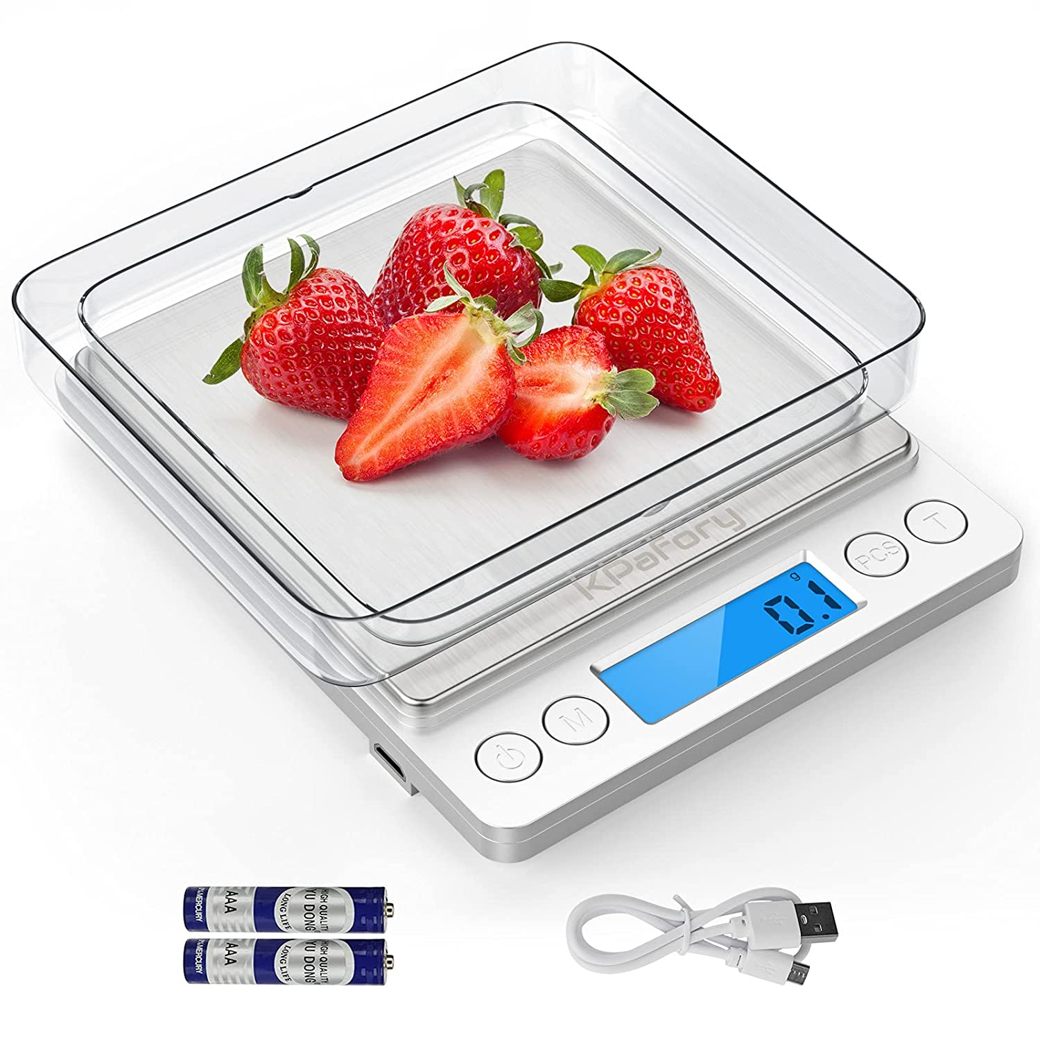 USB Scale Kitchen, KPafory Digital Kitchen Scale with High Precision 3000g/ 0.1g, Stainless Steel oz Food Scale with LCD Display, 9 Units with Tare and PCS Function, Included Batteries and 2 Trays